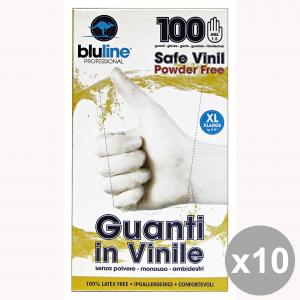 Set 10 Guanti * 100 Vinile BLULINE XL Giardinaggio