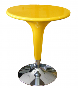 Table Azo A Gas Yellow Chromed , Height Adjustable , Type Bar , Diameter 60Cm