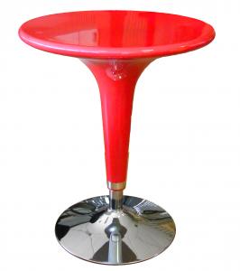 Tavolo Alzo A Gas Rosso Cromato, Regolabile In Altezza, Tipo Bar, Diametro 60Cm