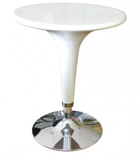 Tavolo Alzo A Gas Bianco Cromato, Regolabile In Altezza, Tipo Bar, Diametro 60Cm