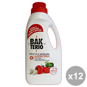 Set 6 BAKTERIO igienizzanti frutta-verdura 1 lt. disinfettanti e igienizzanti