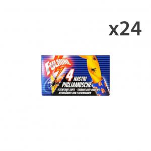 Set 24 FULMINE Mosche Strisce Adesive X4 Pezzi Articoli per insetti
