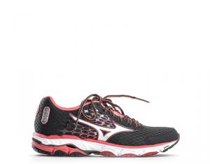 MIZUNO WAVE INSPIRE 12 Chaussures Sneakers Femme Noir / Rouge Tige en polyuréthane
