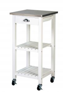 Archimede Trolley White And Stainless Steel Kitchen, 40Cm X40X85 Kitchen, Wooden