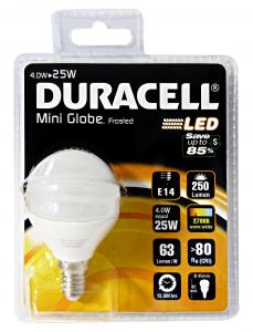 DURACELL Lamp.a led sfera 25w e14 opaca - Lampade e materiale elettrico