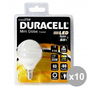 Set 10 DURACELL Lampada LED SFERA 25W E14 OPACA Elettricità