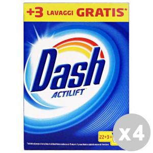 DASH Set 4 DASH Detersivo lavatrice polvere 22+3 lavaggi classico