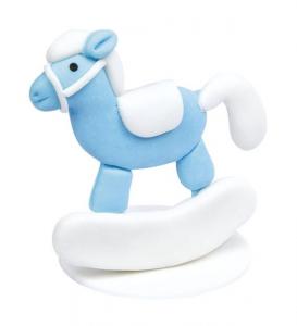 Dondolo cavallino azzurro bimbo cm.5,2x4,2x5,3h