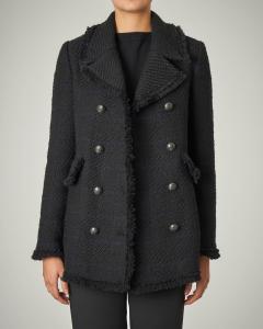 Cappotto doppio petto in tweed di misto lana nero con inserti blu