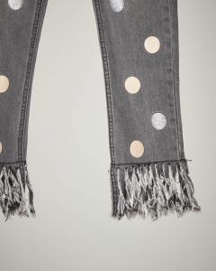Jeans grigio frange e bolli 40-44