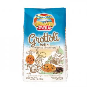 DIVELLA Biscotti Grottoli Gocce Di Cioccolato Da 400 Grammi Colazione Merenda