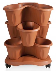 Vaso Trifoglio Impilabile 3Pezzi Con Ruote Terracotta Articolo 30015