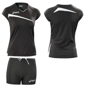 ASICS Kit pallavolo beach volley donna t-shirt + shorts PLAYOFF nero T601Z1