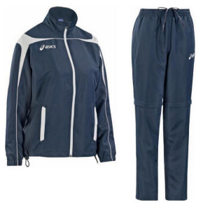 ASICS Tuta sportiva donna giacca + pantaloni GAIA blu navy bianco T230Z5