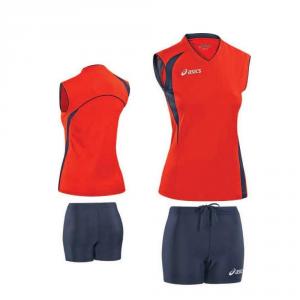 ASICS Kit pallavolo donna t-shirt smanicata + shorts FLY rosso blu T226Z1
