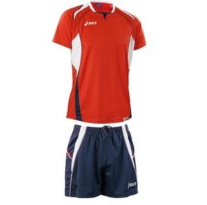 ASICS Kit pallavolo uomo t-shirt + shorts OLYMPIC rosso blu navy T212Z1