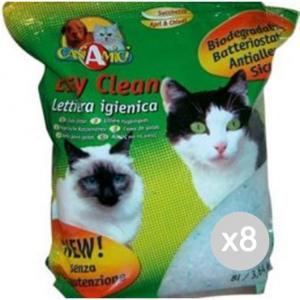 Set 8 EASY CLEAN Lettiera Crist. Lt3,8 Kg1.8 Ele Articolo Per Gatti Domestici