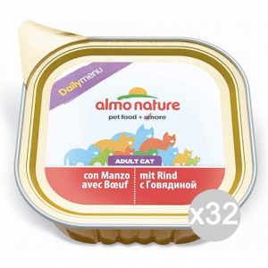Set 32 ALMO NATURE Cat 350 Tank Daily Beef 100 Gr Food For Cats