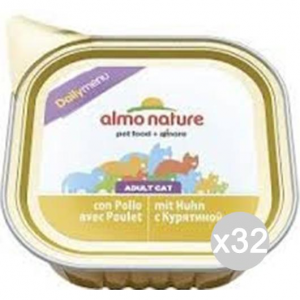 Set 32 ALMO NATURE Cat 351 Gr 100 Tub Daily Chicken Food For Cats