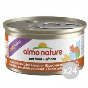 Set 24 ALMO NATURE Gatto 150 Lattina Gr 85 Tacc-Anat.Dadini Cibo Per Gatti