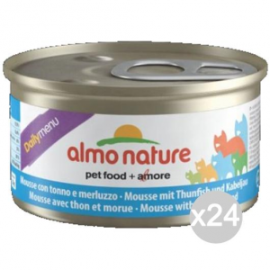 Set 24 ALMO NATURE Cat 147 Gr 85 Tons Can-Merl.Mousse Food For Cats
