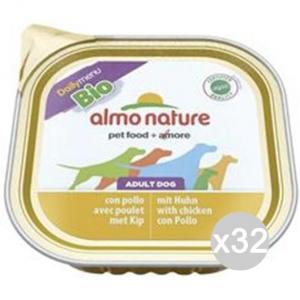 Set 32 ALMO NATURE Cane 300 Vaschetta 100 Bio Pate Pollo E Alimento Per Cani