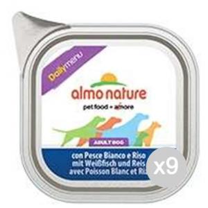 Set 9 ALMO NATURE Cane 236 Vaschetta 300 Pesce B.Riso Daily Alimento Per Cani