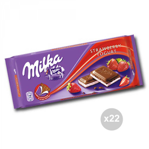 Set 22 MILKA Cioccolata tavoletta yogurt-fragol gr. 100 4047118 snack dolce