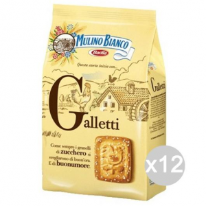 Set 12 MULINO BIANCO Biscuits 350 Gr Galletti For Breakfast And Snack
