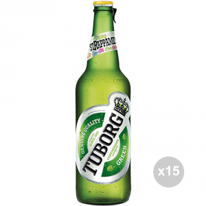 Set 15 TUBORG Beer in bottles 66cl alcoholic drink table