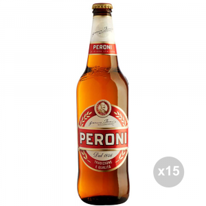 Set 15 PERONI Beer in bottles 66cl alcoholic drink table