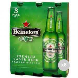Set 8 HEINEKEN Birra in bottiglia 33cl x3 vetro bevanda alcolica da tavola
