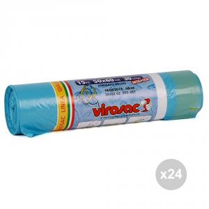 Set 24 VIROSAC Sacchi pattumiera azzurro 50x60 maniglia 15p rotolo