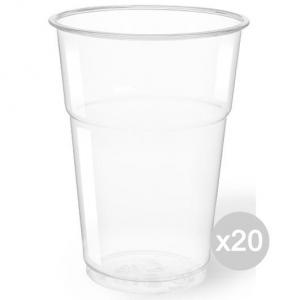 Set 20 ARISTEA 50 Bicchieri 400 Cc Trasparente Pet Birra Accessorio Per Cucina E Tavola