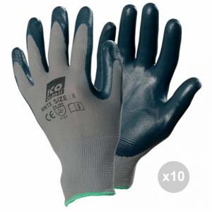Set 10 ICO Guanti lavoro 7-me nylon nitrile nnxx per la pulizia domestica