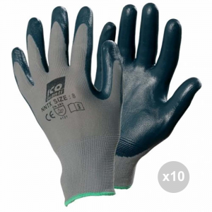 Set 10 ICO Work gloves 7-me Nylon nitrile nnxx for household cleaning