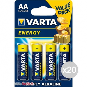Set 20 VARTA 4 High Energy Stilo Aa Alkaline Pila Batteria Elettrica