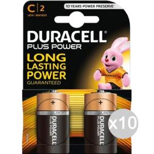 Set 10 DURACELL 2 Mezzatorcia Mn 1400 C.Lr14 Pila Batteria Elettrica