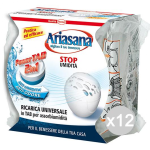 Set 12 ARIASANA Ricarica Pastiglia 3In1 Mini 300Gr Deumidificatore Ambiente