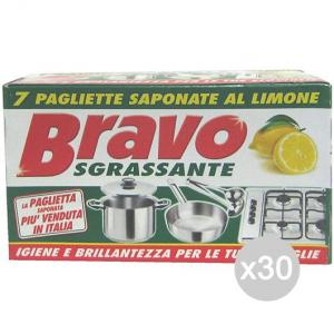 Set 30 BRAVO Paglietta Saponata X 7 Attrezzo Pulizia Della Casa