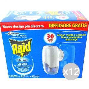 Set 12 RAID Spina Box Base + Ricarica Liqida Repellente Insetticida