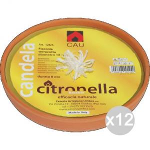 Set 12 CITRONELLA U 128A Terracotta Fiaccola 18X5H Repellente Insetticida