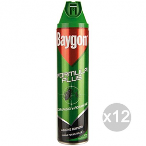 Set 12 BAYGON Verde Spray Scarafaggi Formiche Ml 400 Repellente Insetticida