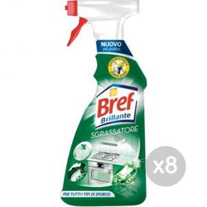 Set 8 BREF Brillante Sgrassatore 750Ml Spray Detersivi E Pulizia Della Casa