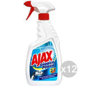 Set 12 AJAX Spray Doccia Shower-Power 750 Ml 2In1 Detersivi E Pulizia Della Casa