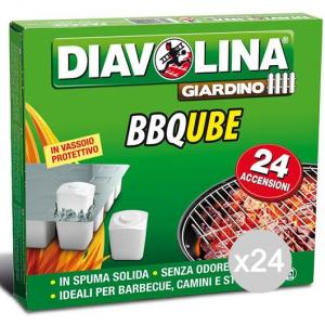 Set 24 DIAVOLINA Accendifuoco X 24 Bb Qube Spuma Solida Per Barbecue E Camino
