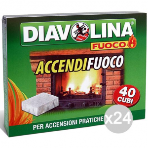 Set 24 DIAVOLINA Accendifuoco X40 Per Barbecue E Camino