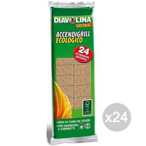 Set 24 DIAVOLINA Accendifuoco X 24 Ecologica Per Barbecue E Camino