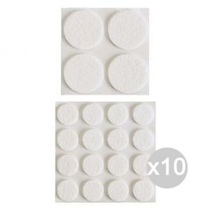 Set 10 Feltri Sedia Autoadesivi Bianco Diametro 22 Accessorio Per La Casa