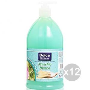 Set 12 DOLCE SAPONE Liquido Lt 1 Completo Muschio Cura E Pulizia Del Corpo